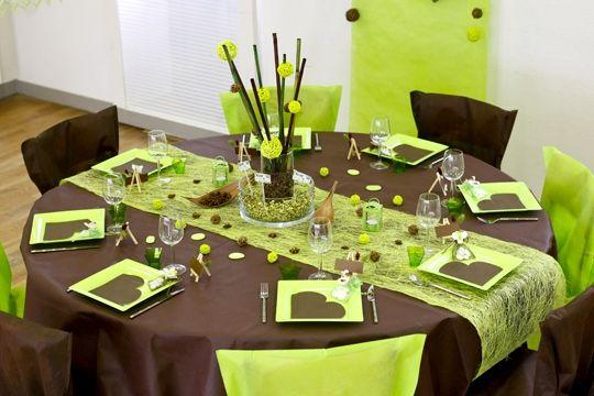 Vert et brun deco de table deco table decoration - Deco chambre vert et marron ...