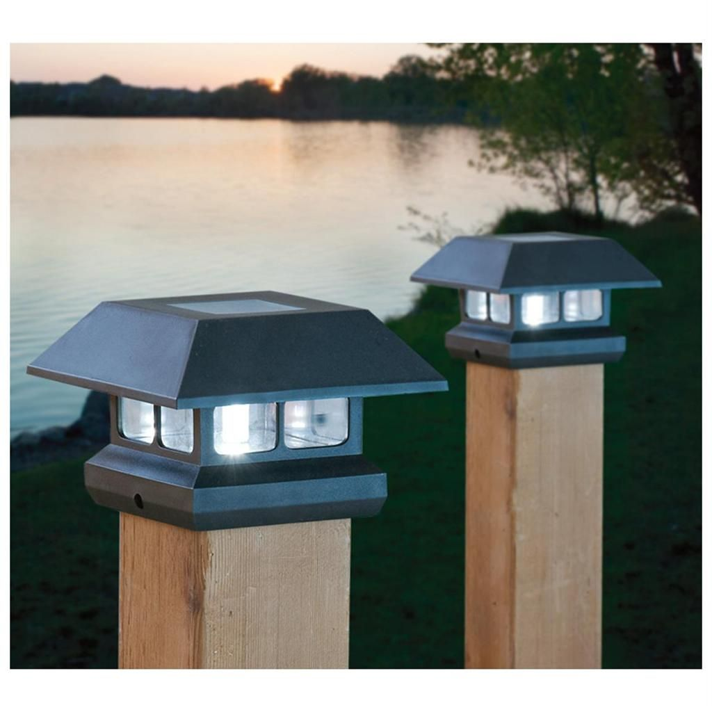 2 solar 4 post lights outdoor landscape fence railing mount black 2 solar 4 post lights outdoor landscape fence railing mount black or brown new aloadofball Images