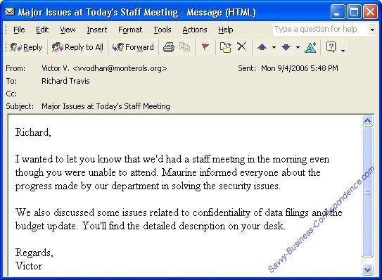 Email Message Summarizing Issues Discussed At A Staff