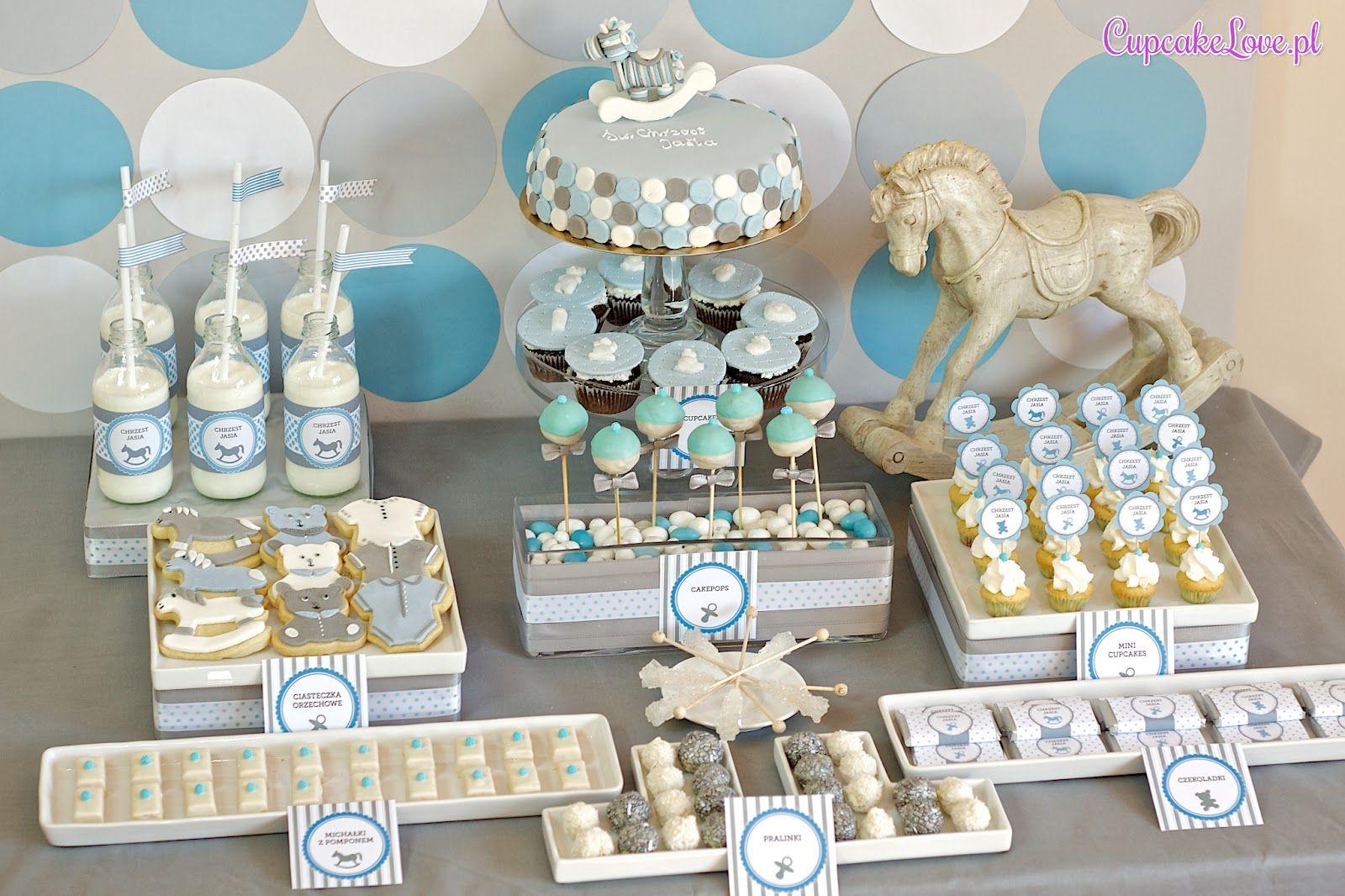 Pin By Malgorzata Jakimik On Dessert Tables Baptism Cake Boy Christening Dessert Table Baby Shower Dessert Table