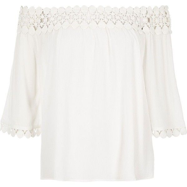 River Island Cream lace bardot top ($15) ❤ liked on Polyvore featuring tops,