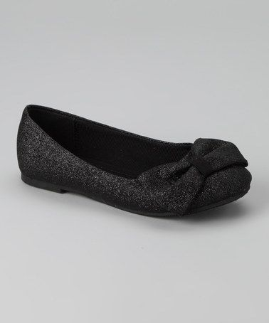 This Black Glitter Flat is perfect for holiday shoes! #kids #fall #zulily