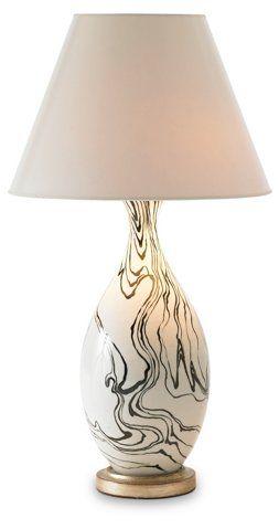 Marbleized Lamp Black White Table Lamps Table Floor Lamps Lighting One Kings Lane White Ceramic Lamps Lamp Table Lamp