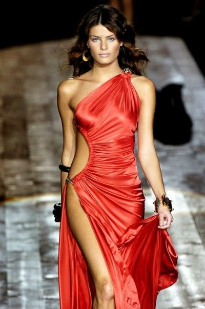 Roberto cavalli red dress maggie q