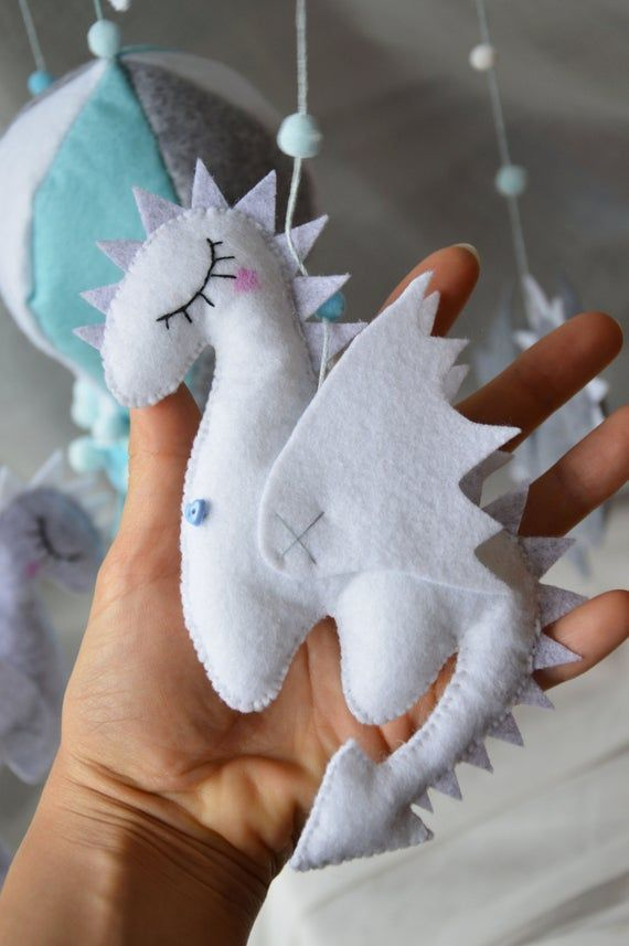 Pastel Gray Baby mobile Dragons mobile Mother of Dragons Game of thrones baby shower Felt toy Dragon Nursery mobile Baby crib