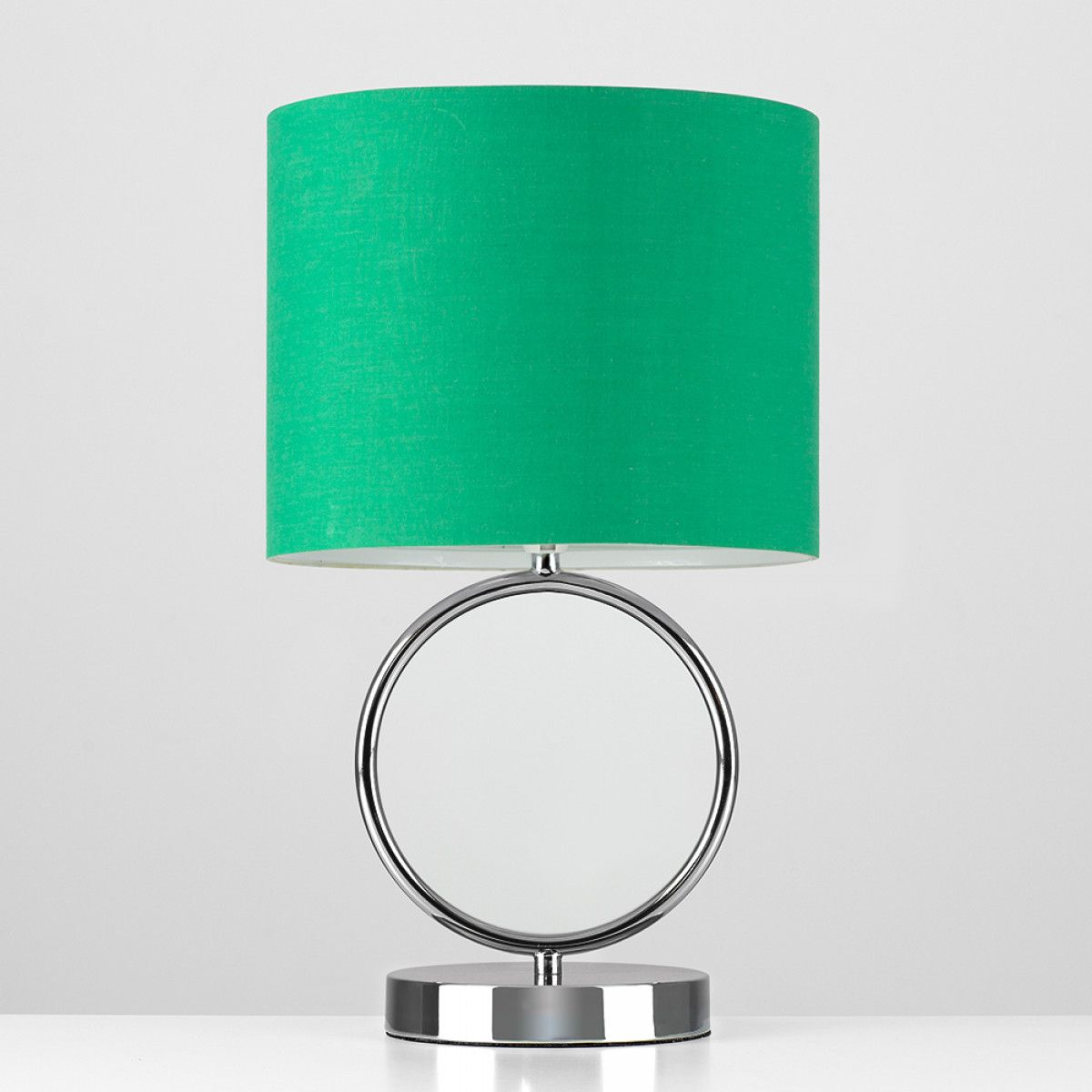 Lavoisier Black Chrome Hoop Touch Table Lamp With Green Drum Shade