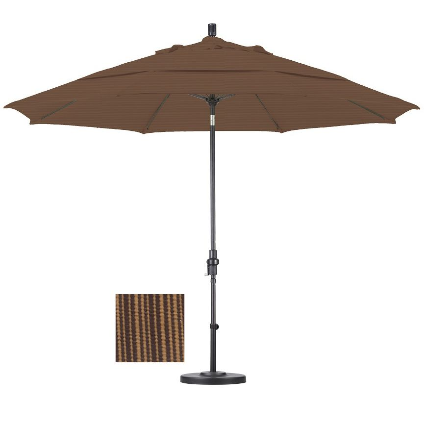 Lauren Company Premium 11 Foot Sequoia Fiberglass Woven Umbrella With 50 Pound Stand Market Umbrella Patio Umbrellas Patio