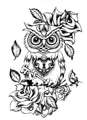 tattoo owl coloring pages - photo#3
