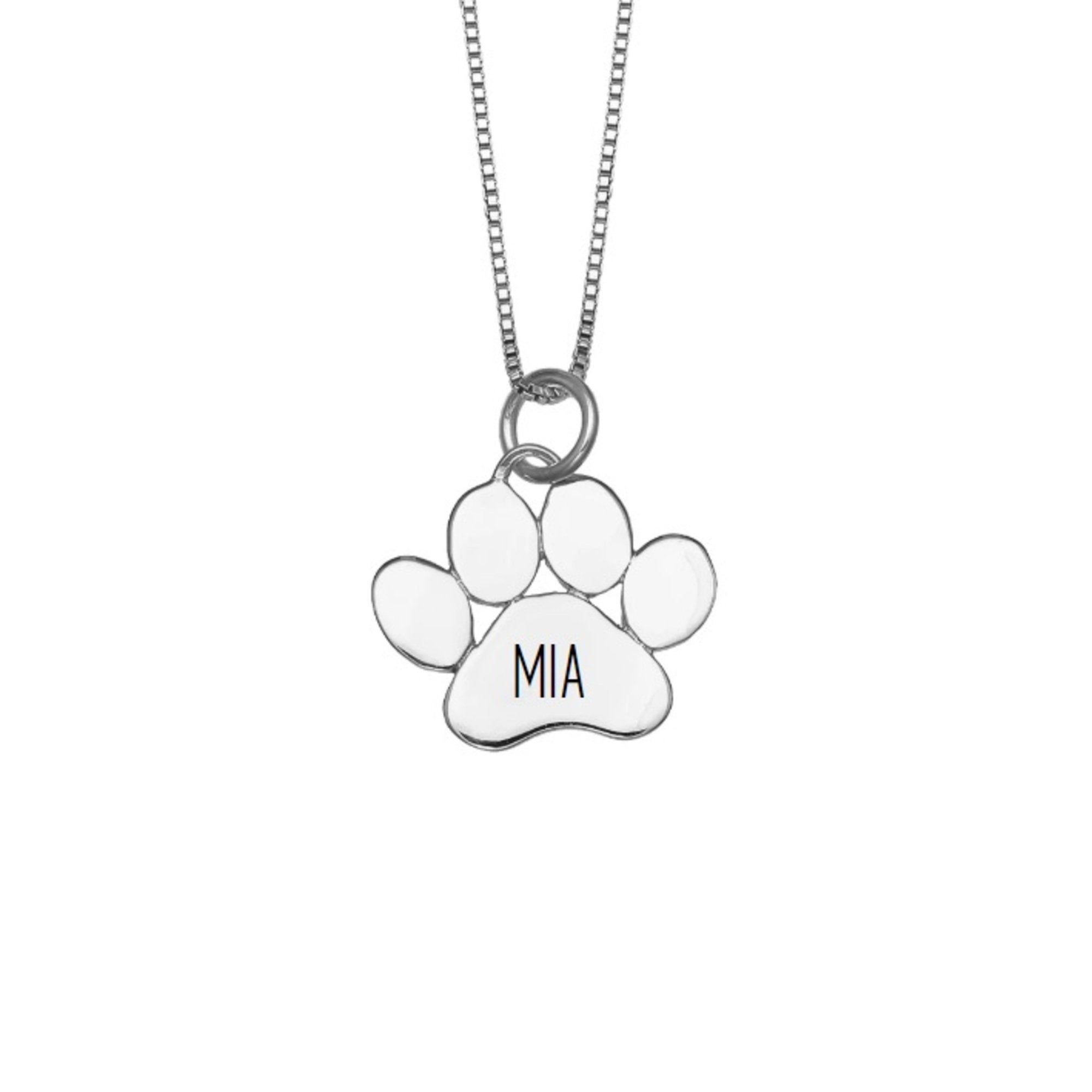 Dainty Sterling Silver Love Paw Print Charm Necklace  Gift for Her