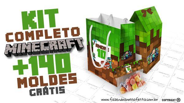 Minecraft Kit Festa Totalmente Gratis Imprima Em Casa Minecraft