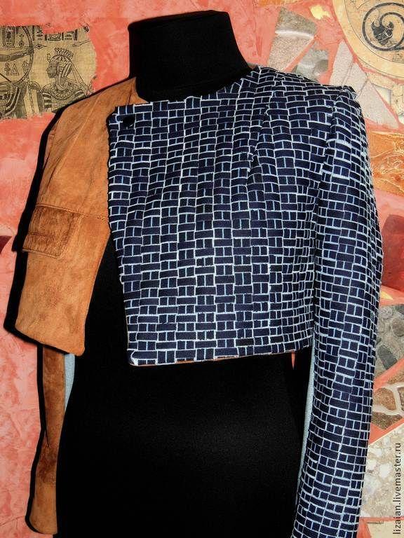 Жакет из натуральной кожи и джинса - жакет женский,пиджак женский,болеро