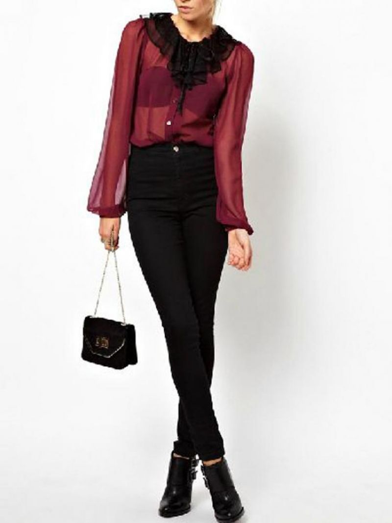 Red Bright Chiffon Blouse With Puff Sleeves | abaday