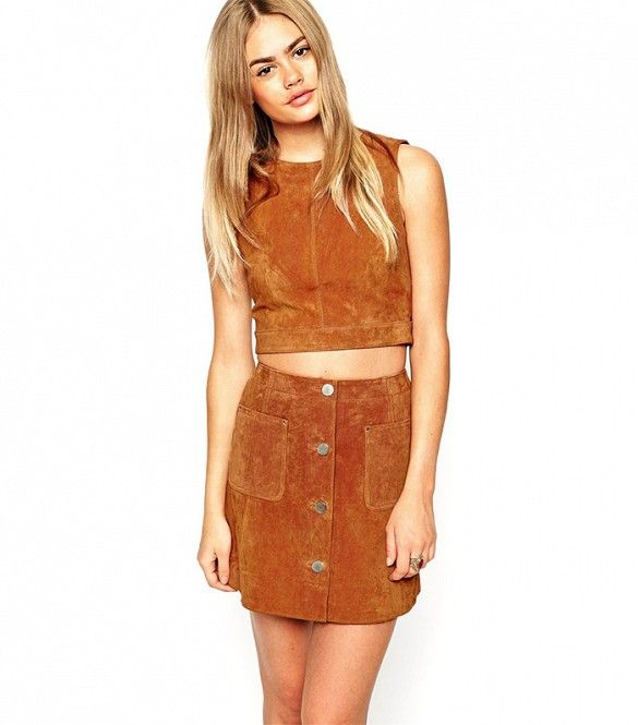 ASOS Suede Shell Top With D-ring Detail and Open Back; ASOS Suede A-Line Skirt