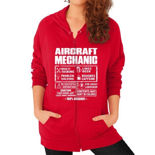 Aircraft mechanic Zip Hoodie (on woman)