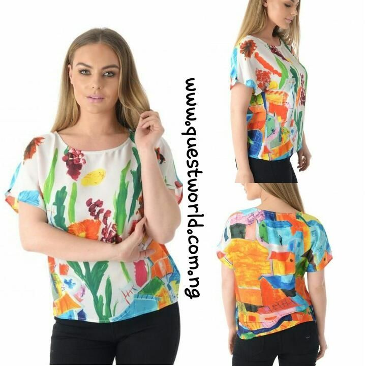 Abstract Garden Print Hi-Lo Box Top size 12 14 16 #6500 www.questworld.com.ng Pay on delivery in Lagos Nationwide Delivery