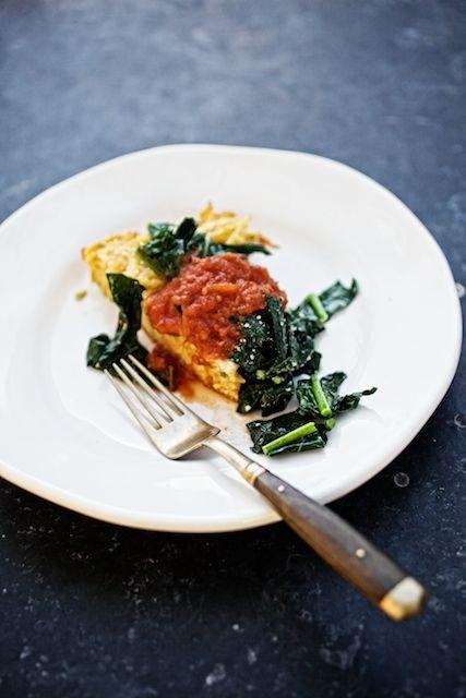 Spaghetti Frittata with SauteedGreens