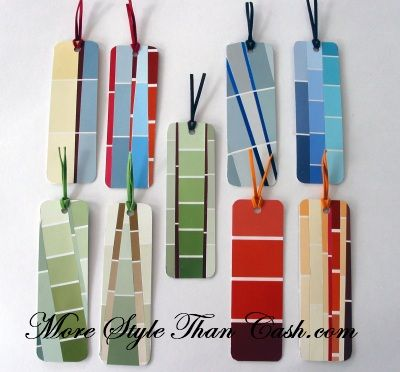 Bookmarks made from paint chips.