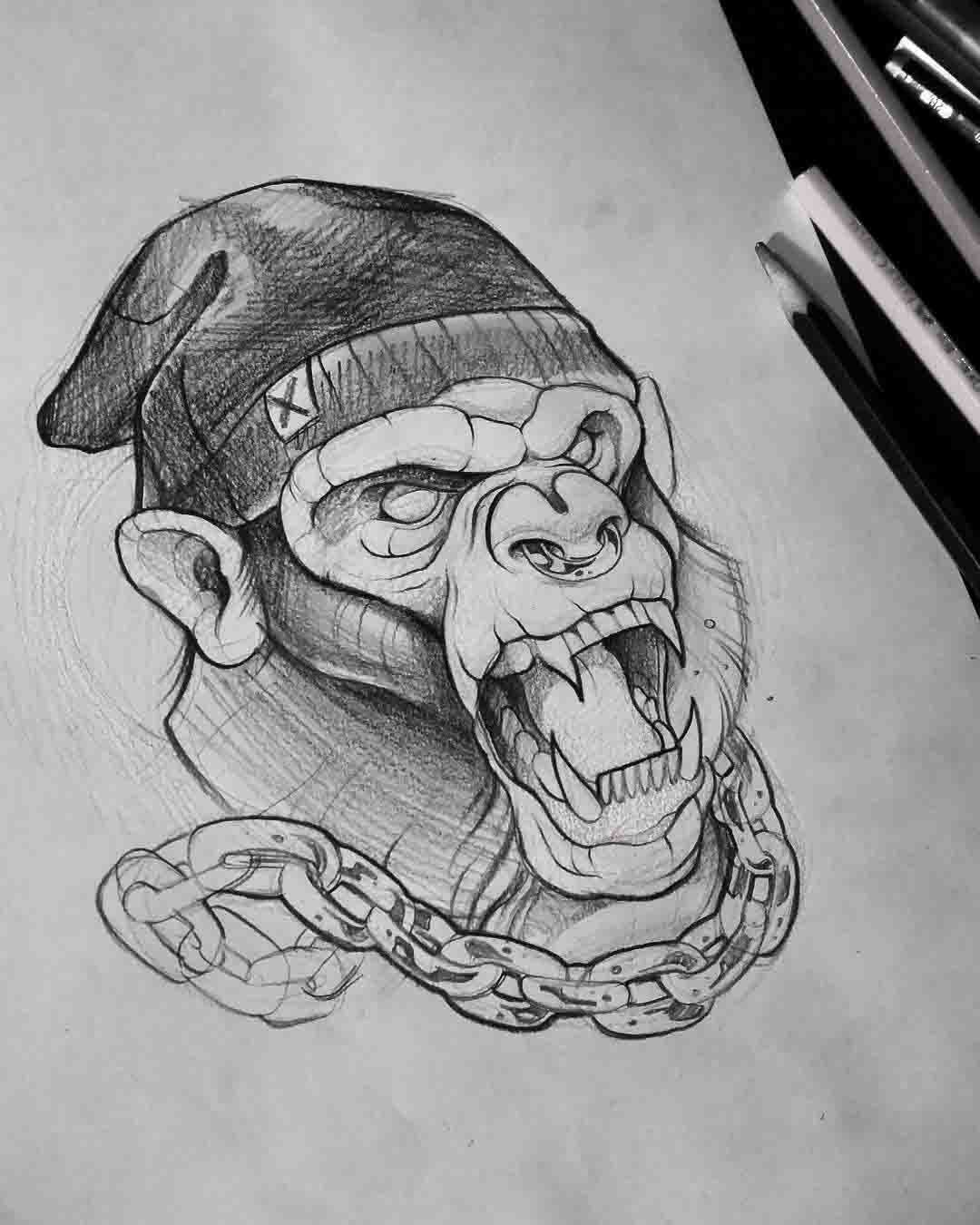 Angry monkey tattoo idea verrückten tattoos sleeve tattoos body art tattoos pencil drawings