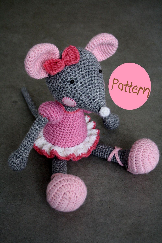 PATTERN - Ballerina-Mouse, crochet amigurumi toy\