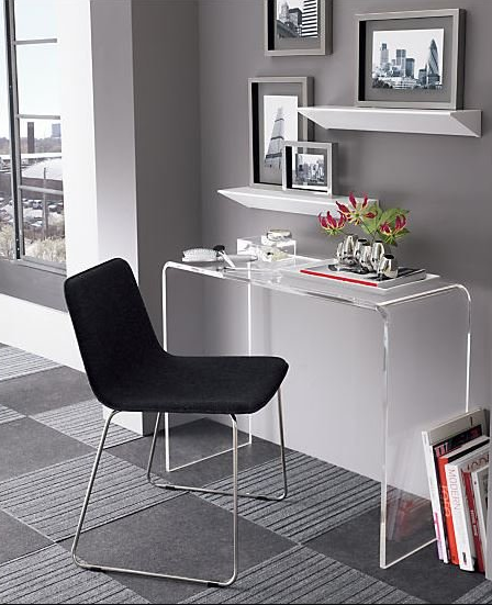 Peekaboo 38 Acrylic Console Table Reviews Cb2 Desks For Small Spaces Front Office Furniture Console Desk