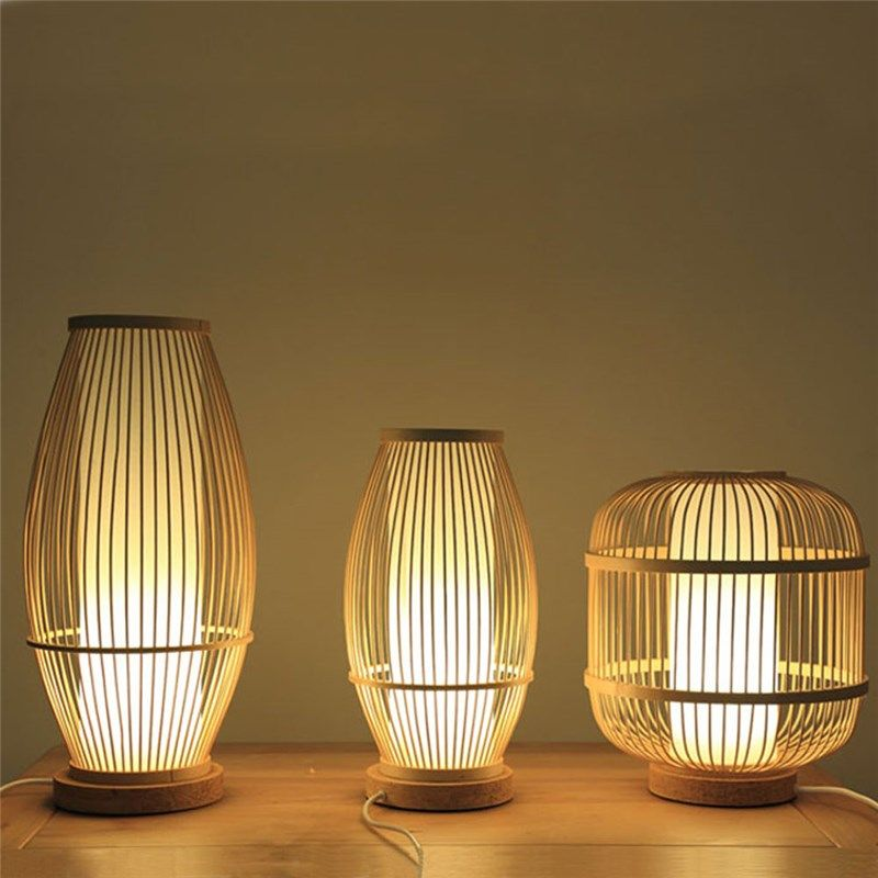 Hollow Shade Bamboo Table Lamp Chinese Simple Bedside Desk Lamp Teahouse Lighting Table Lamp Table Lamps Living Room Room Lamp