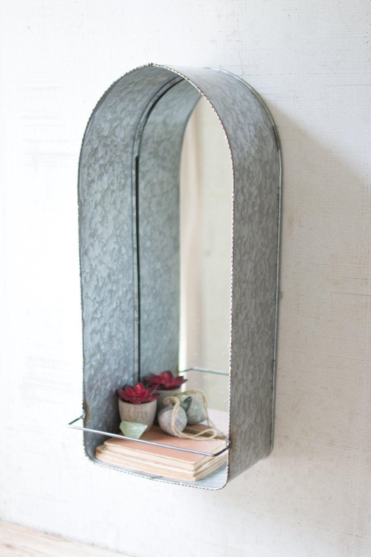 Galvanized Arched Mirror with Shelf Farmhouse Fresh Home