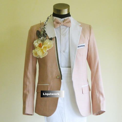 Fancy Light Pink Slim Fit Prom Wedding Casual Dress Suits Tuxedos ...