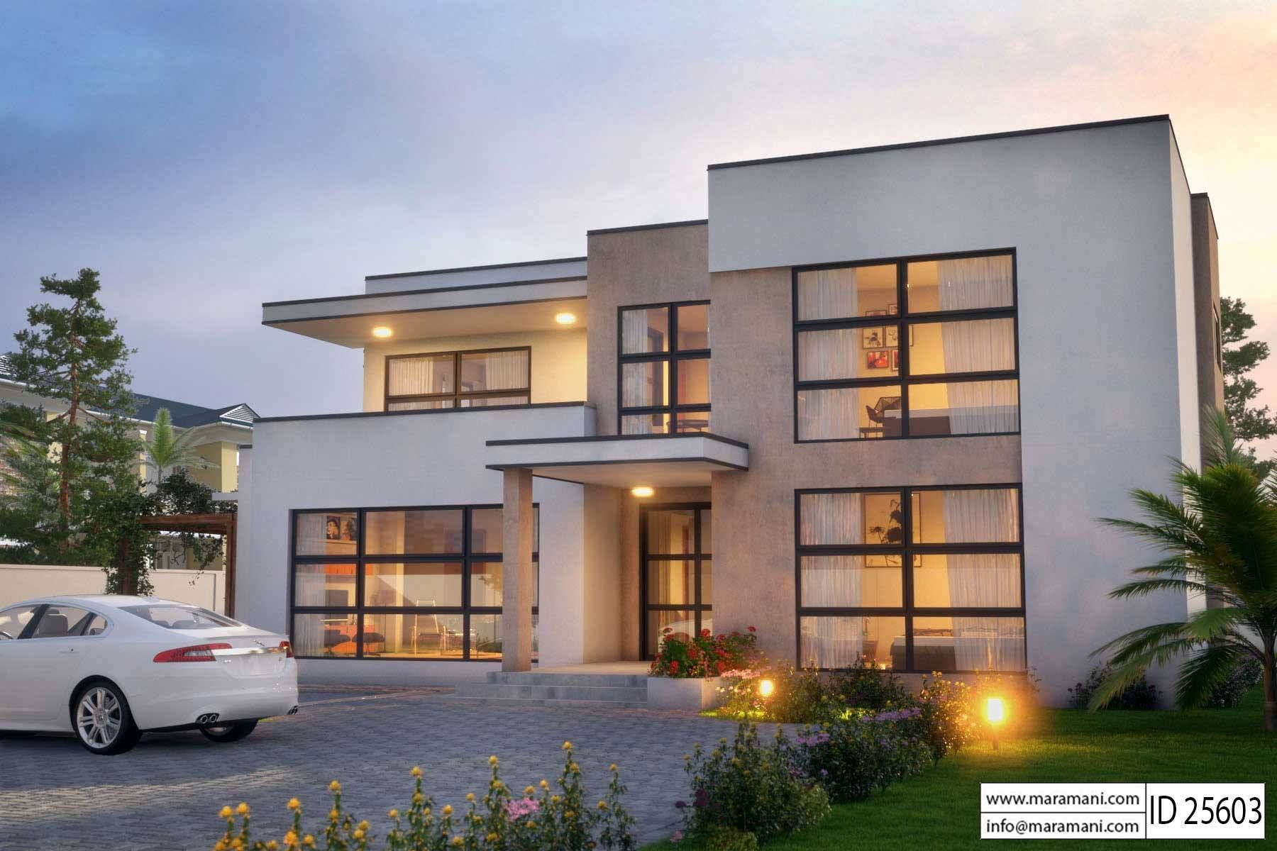 Modern 5 Bedroom House Design Id 25603 Floor Plans By Maramani Big Modern Houses Architectural House Plans Modern House Floor Plans