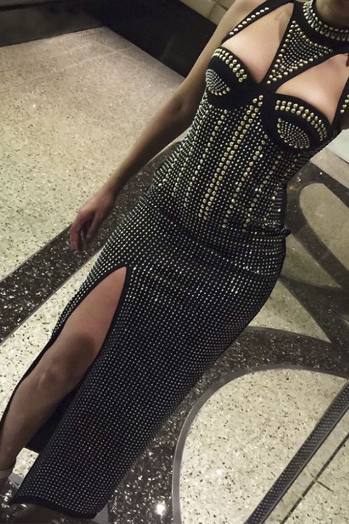 Honey Couture ZIKA Black Studded Cut Out Maxi Dress
