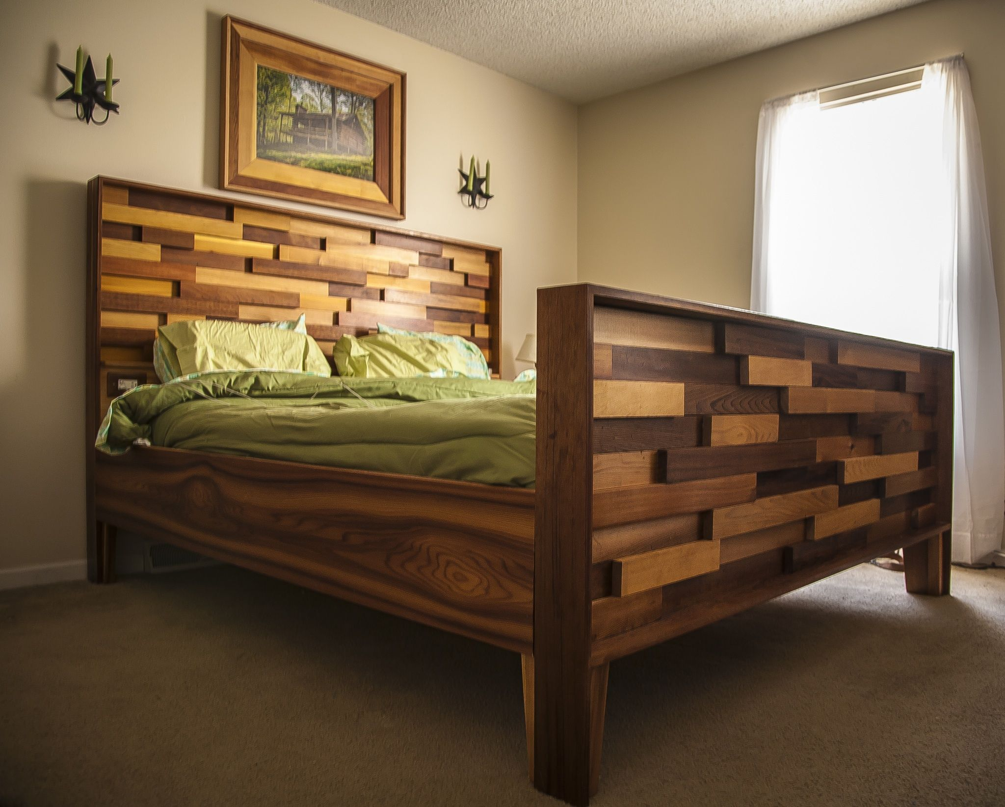 Western red cedar bed frame from leftover job site material ...