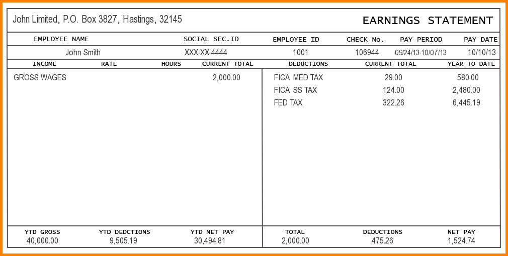 Free Pay Stub Template For Word from i.pinimg.com