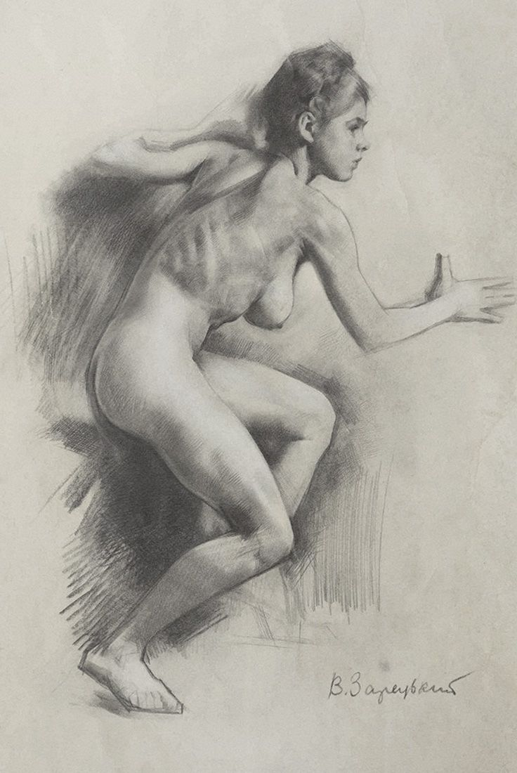 Victor zaretsky nude female figure in profile pencil drawing 1950s