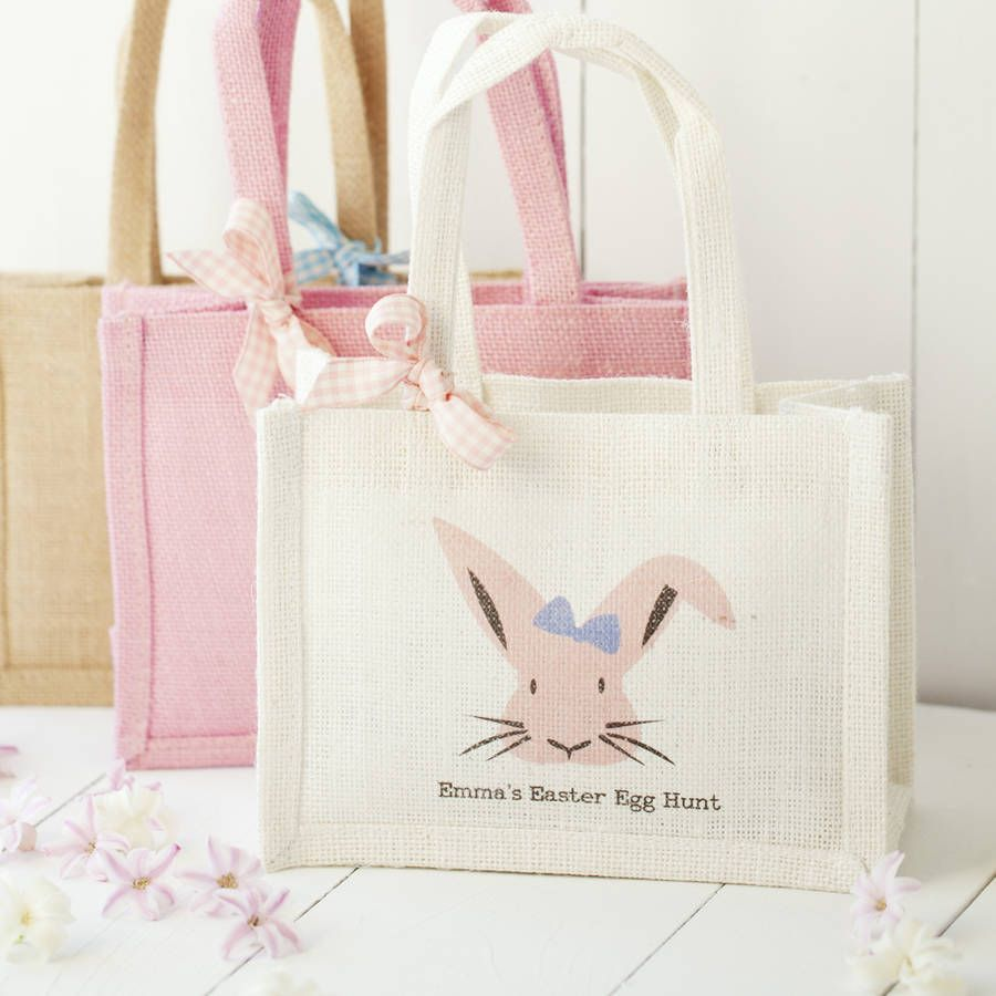 Personalised Easter Bunny Tote Bad Personalised Easter egg hunt Bag Blue and Pink