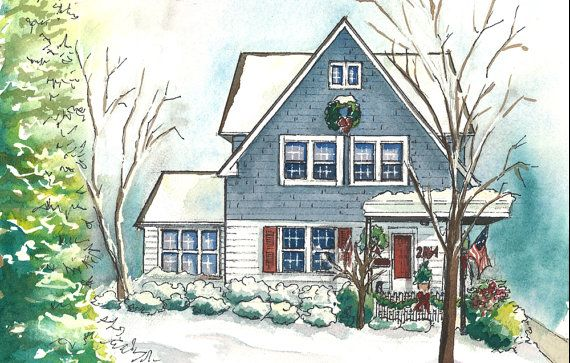 Watercolor House Portraits Custom Painting Of Your Home