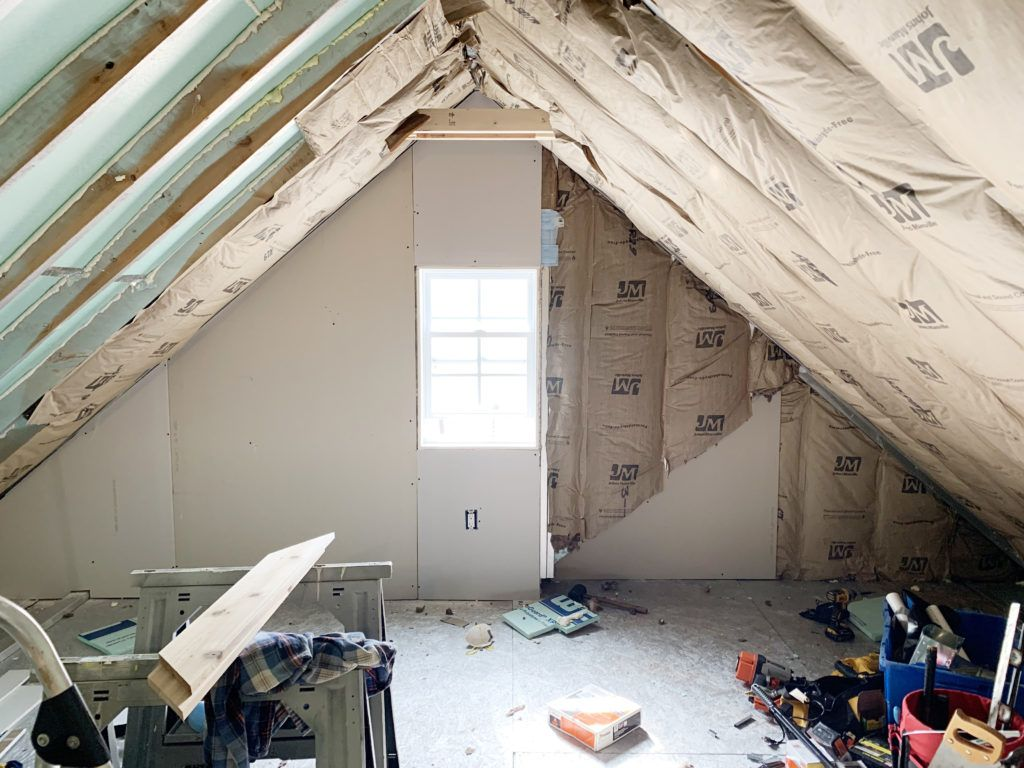 Insulating The Room Over The Garage Attic Wall Insulation Attic Flooring Attic Office