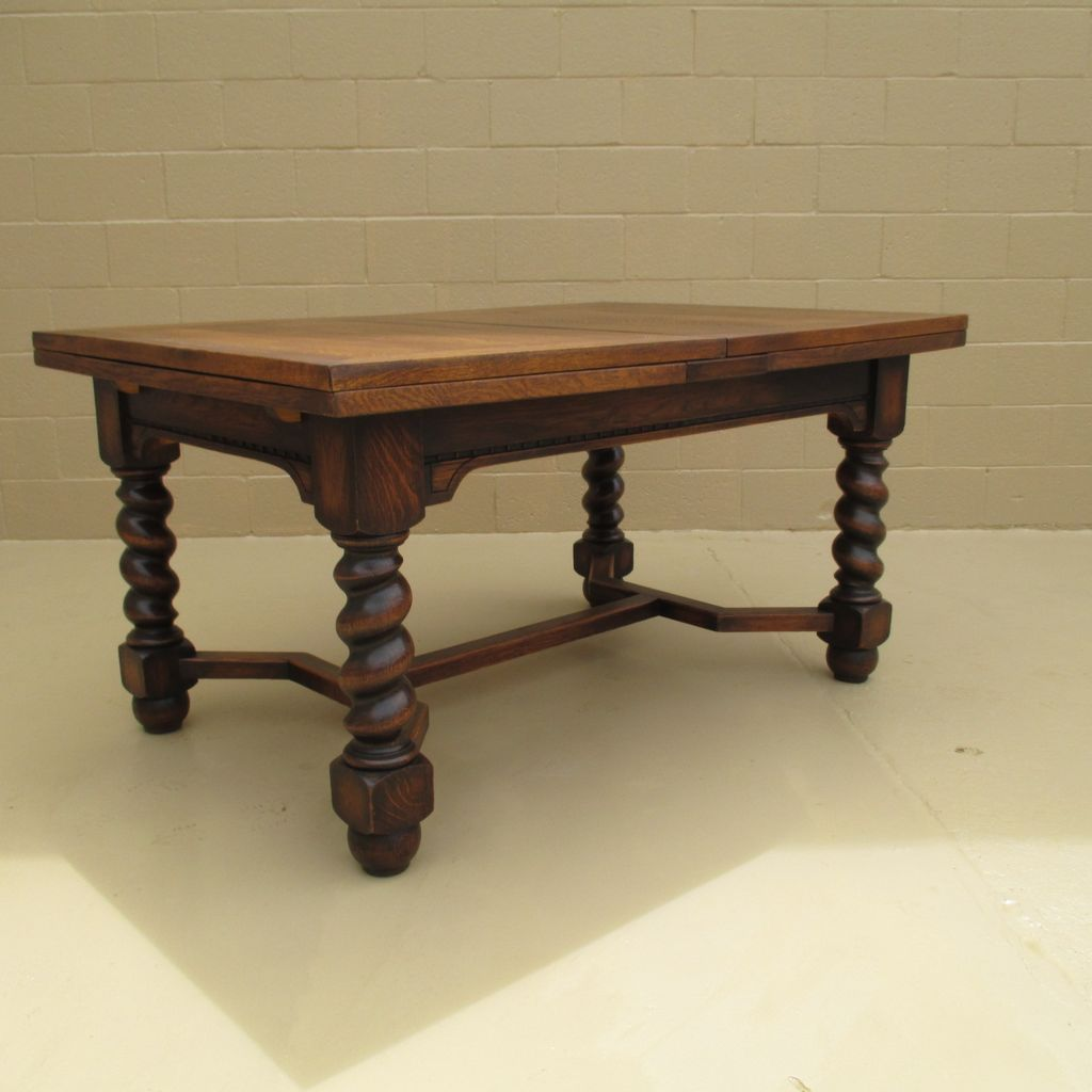 Antique wooden dining table - French Antique Oak Barley Twist Dining Table Antique Furniture