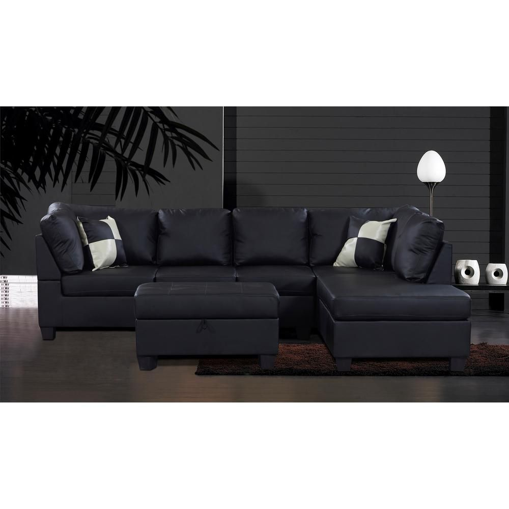 Amazing Venetian Worldwide Linford Sectional Sofa With Right Ottoman Dailytribune Chair Design For Home Dailytribuneorg