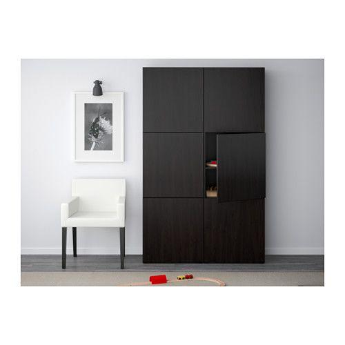 Kleiderschrank ikea schwarz  BESTÅ Aufbewahrung mit Türen, schwarzbraun, Selsviken Hochglanz ...