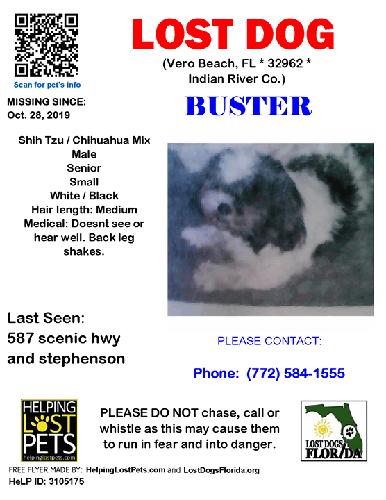 Lost Dog Have You Seen Buster Lostdog Buster Verobeach 587 Scenic Hwy Stephenson Fl 32962 Indianriver Co Dog 10 28 2019 Male Shih With Images Losing A Dog