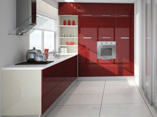 Cuisine equipee rouge cuisine pinterest - Cuisine equipee rouge ...