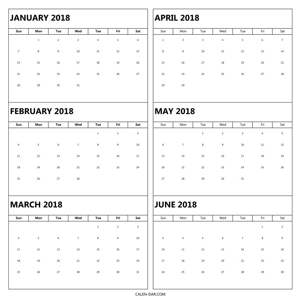 printable 2018 monthly calendar template