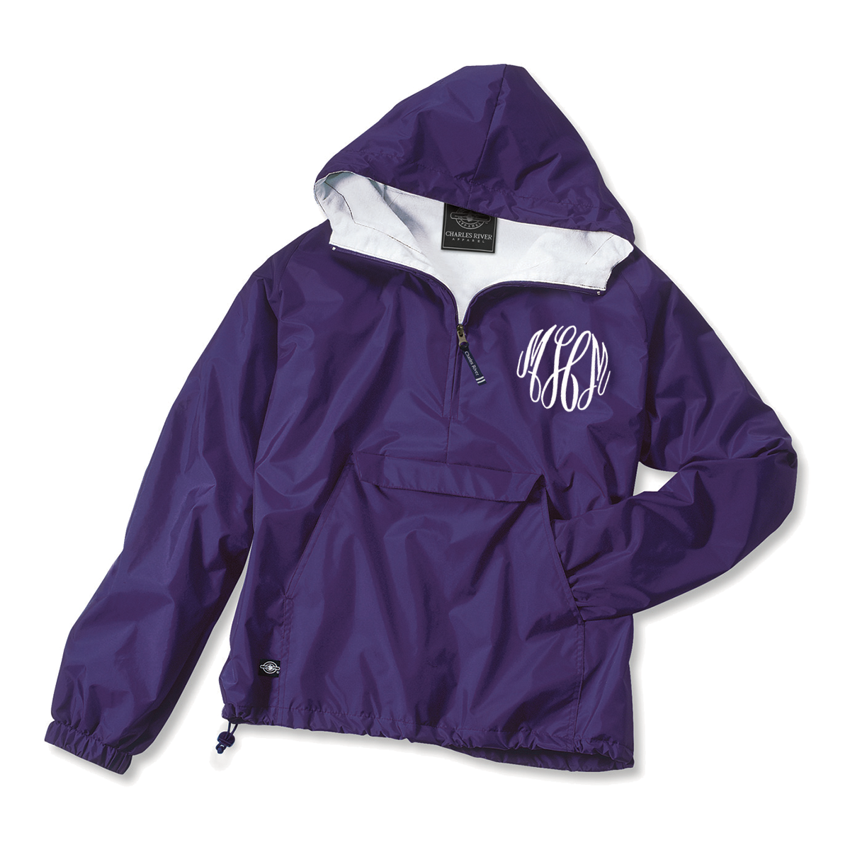 $39.99 ($8 monogram)  Stay warm on cold days and dry on rainy days!  This Classic Solid Pullover is wind and water resistant with a cotton flannel lining throughout the inside for warmth during the colder months.  This functional jacket packs into a pocket for easy storage when the skies clear.  Perfect to keep in a backpack for days on campus.  Add a monogram to showcase your personal style!