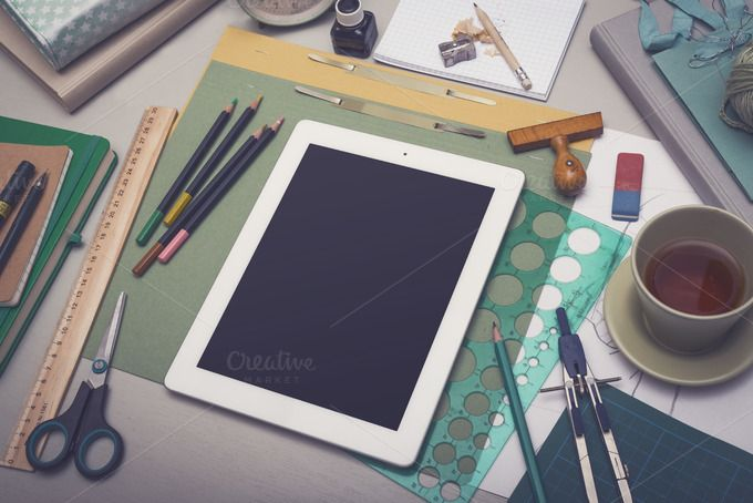 Creative crafts tablet mockup by mactrunk on Creative Market