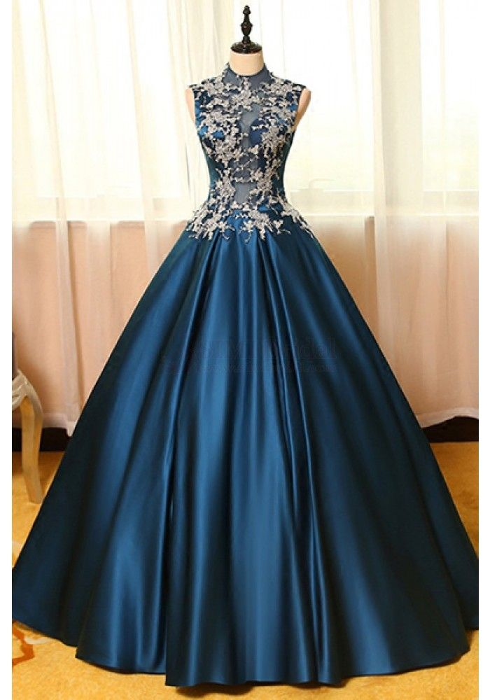 High Neck Applique Bodice A Line Long Satin Prom Dresses Evening ...