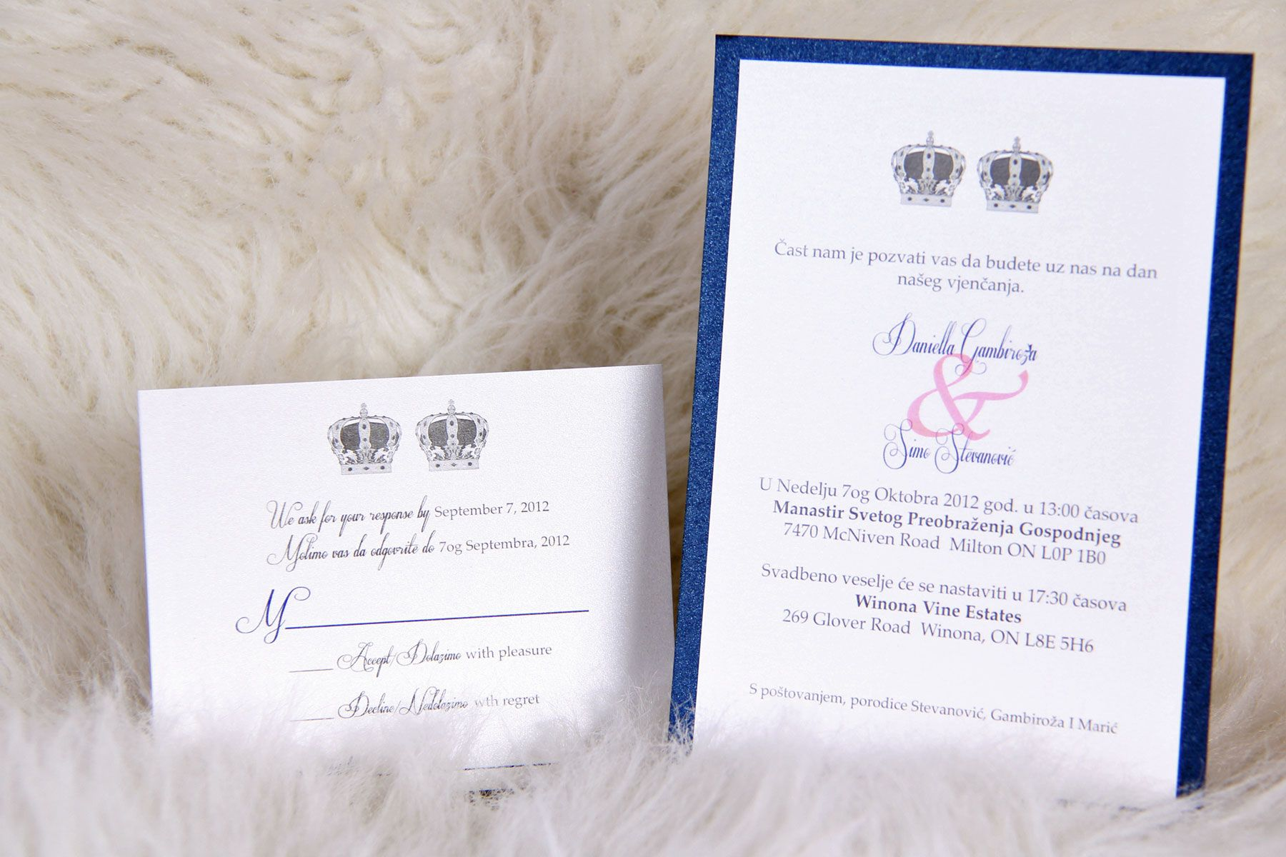Serbian Wedding Invitation with Serbian Orthodox Crowns www ...