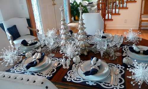 Traditional Dining Room Frenchflair Love The Dark Navy And Silver Combo