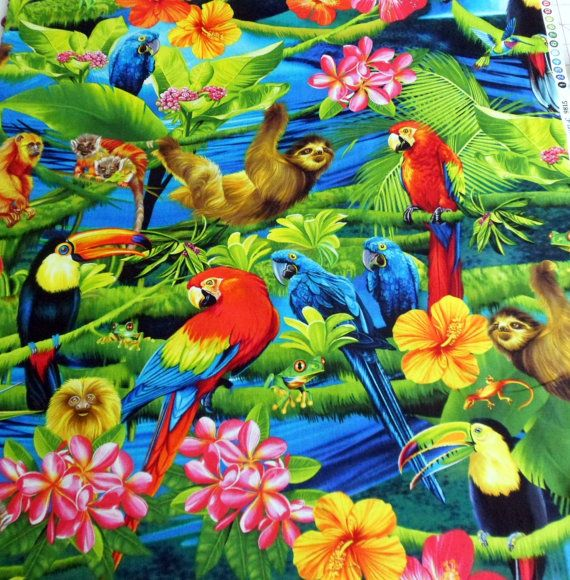 Tropical Fabric Rain Forest Birds Flowers Michael