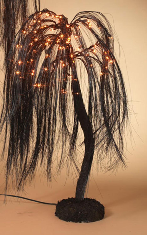 4' PreLit Spooky Black Glittered Weeping Willow Halloween