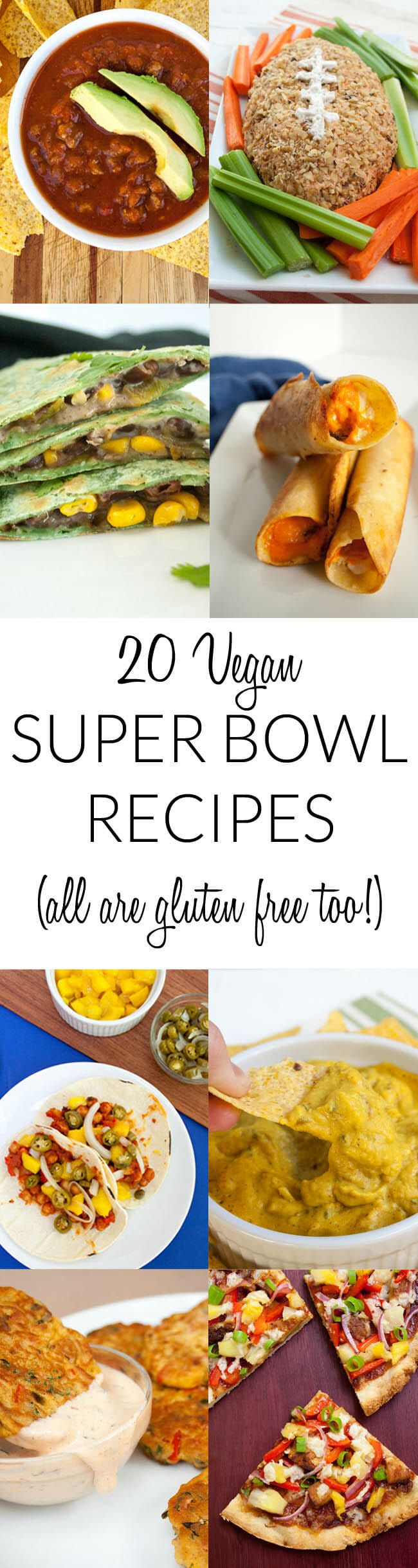20 Vegan Super Bowl Recipes (gluten free too!) - Super Bowl Sunday is a culinary sport, so there should be a variety of options on the menu. These vegan game day finger foods include pizza, vegan nacho cheese, quesadillas, tacos and more. You are sure to find something for everyone with this resource!