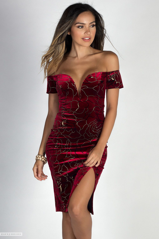ed2003ff5d8 Off Shoulder Red Velvet Sweetheart Dress with Metallic Gold Rose Pattern